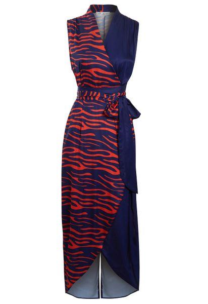 contrast prints wrap dress