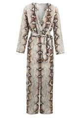 Snakeskin prints long sleeves jumpsuit