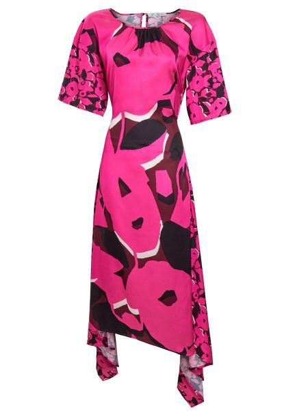 Satin Silk Fuschia Floral Asymmetric Cut Out Midi Dress