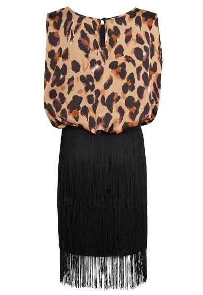 Leopard Print Satin Black Tassle Dress