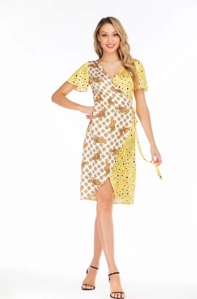 Yellow Leopard and Tiger contrast satin wrap dress with cap sleeve