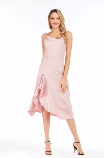 Satin cowl neck midi dress with frill split and tie back in Pink