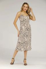Beige and Blush satin leopard midi slip dress