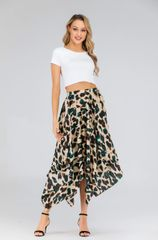Satin green leopard pleated asymmetrical midi skirt