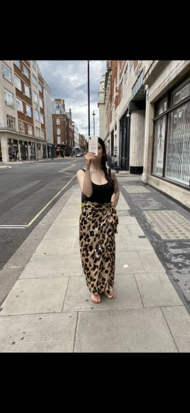 Satin wrap midi skirt with belt in Brown and black leopard print