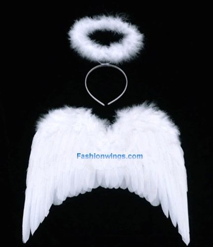 Angel of Love, M2, White feather wings w/headband halo