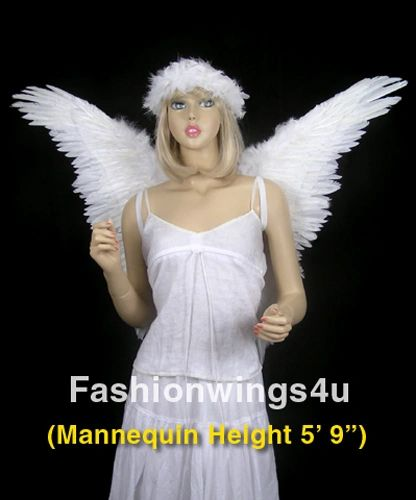 Angel of Fantasy, Extra Large, White feather wings w/halo