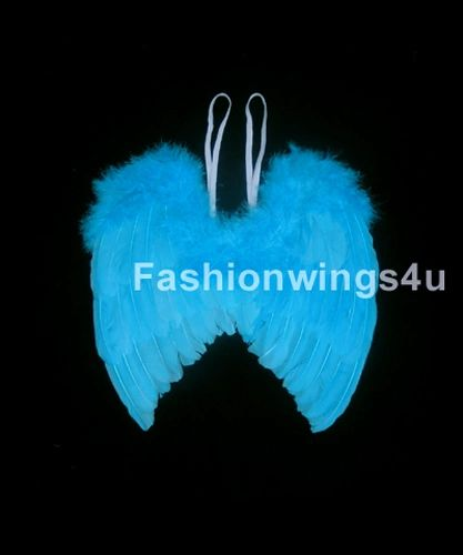 Angel of Hope, Medium, Aqua Blue feather wings