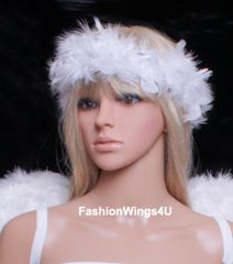 White Feather Elastic Halo for Teens and Adults
