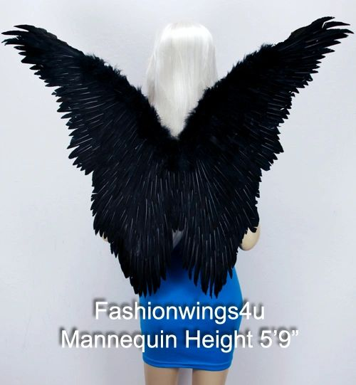 Angel of Fantasy, Extra Large, Black feather wings