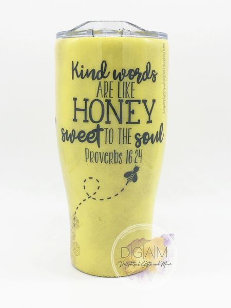 KIND WORDS ARE LIKE HONEY HONEYCOMB GLITTER TUMBLER