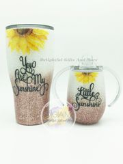 YOU ARE MY SUNSHINE GLITTER TUMBLER SET