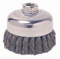 Wire Brush, Knot Wire Cup Wire Brush, Threaded Arbor, 4""