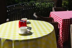 "Tablecloth, Round 90"" (Gingham Checkered)"