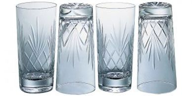 Lead crystal glasses, wine glasses (stem and stemless), shot glasses, goblets, tankards.