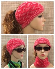 Fleece Lined Headband Red and White Mix