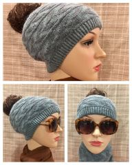 Charcoal Teal Headband/Neck Warmer