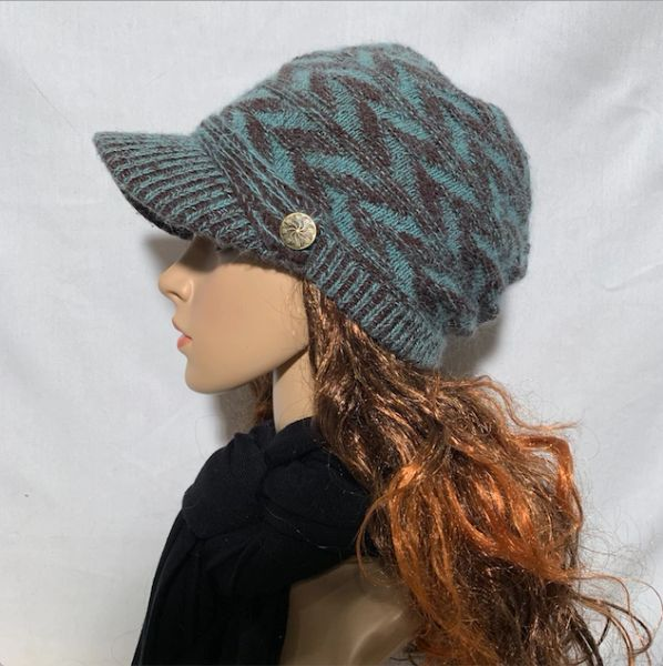 Brown Teal Beanie