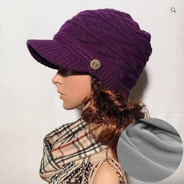 Purple Fleece Lined Beanie