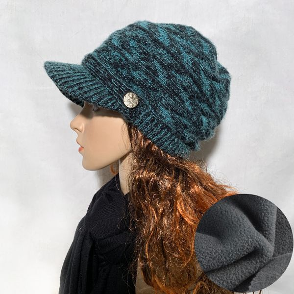 Black Teal Fleece Lined Beanie