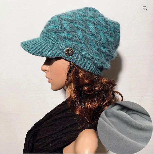 Charcoal Teal Fleece Lined Beanie