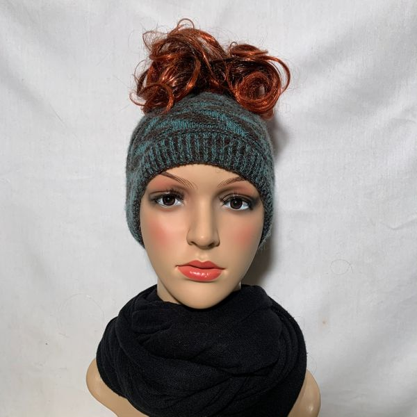 Brown Teal Headband/Neck Warmer