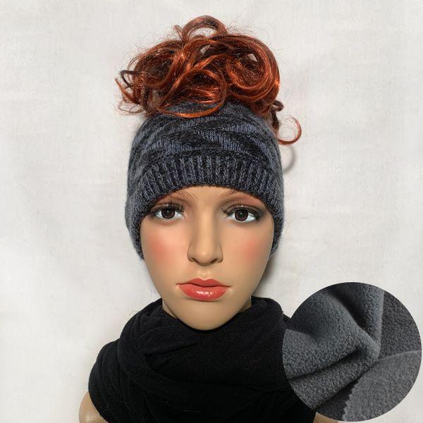 Fleece Lined Headband Black Blue