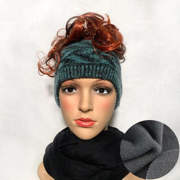 Fleece Lined Headband Black Teal