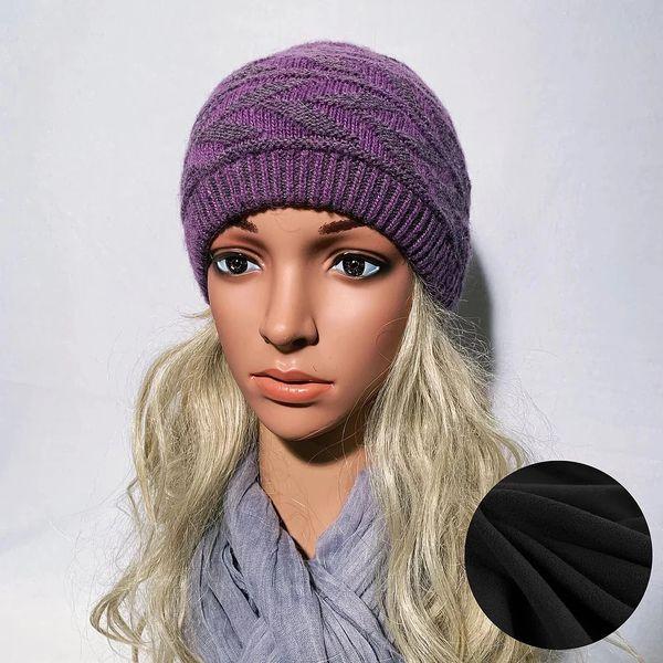 Fleece Lined Headband Charcoal Purple