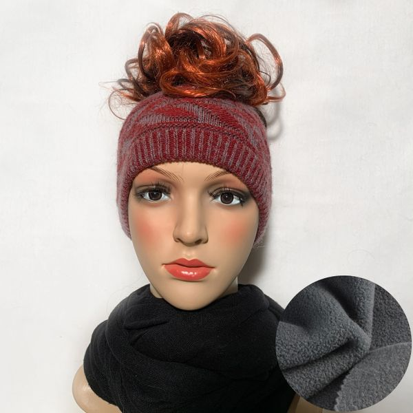 Fleece Lined Headband Burgundy Blue Mix