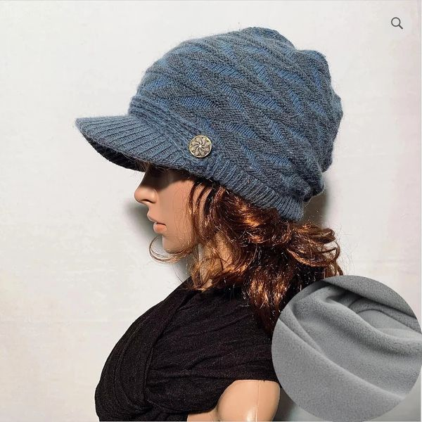 Charcoal Blue Fleece Lined Beanie