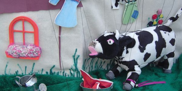 Cow marionette puppet from puppet show available in New England.