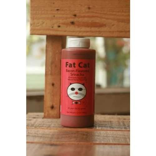 """Fat Cat Bacon-Flavored Sriracha (Chili Garlic) Sauce with Natural Bacon Flavoring – (Three """"3"""" Pack of 12 Oz. Bottles)"""