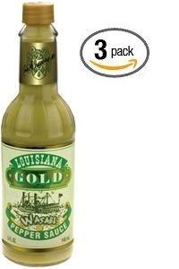 "Louisiana Gold Wasabi Pepper Sauce - (Three ""3"" Pack Of 5 Oz. Bottles)"