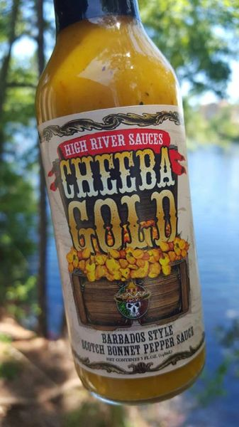 "High River Sauces Cheeba Gold Barbados Style Scotch Bonnet Pepper Sauce (Three ""3"" Pack of 5 Oz Bottles)"