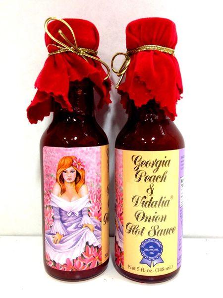 "Georgia Peach and Vidalia Onion Hot Sauce with Red Velvet Top - (Three ""3"" Pack Of 5 Oz. Bottles)"