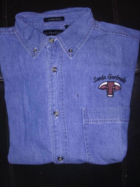 Santa Gertrudis Embroidered Denim Short Sleeve Shirt