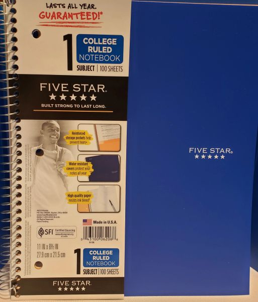 5 Star 1 Subject Notebook