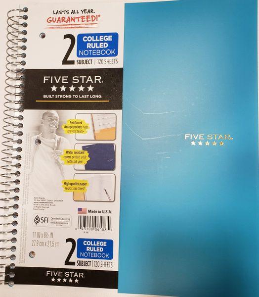 5 Star 2 Subject Notebook