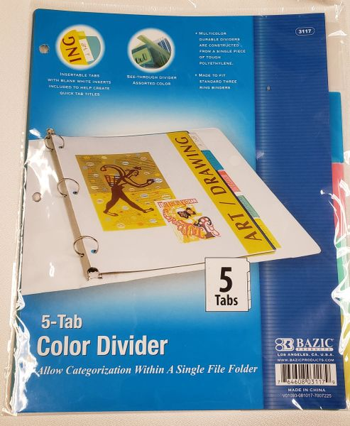 Bazic Dividers with 5 Tabs
