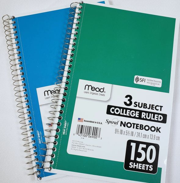 Mead Small 3 Subject Notebook