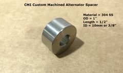 "CMI Custom Machined 304 Stainless Steel 1"" X 1/2"" Alternator Spacer"
