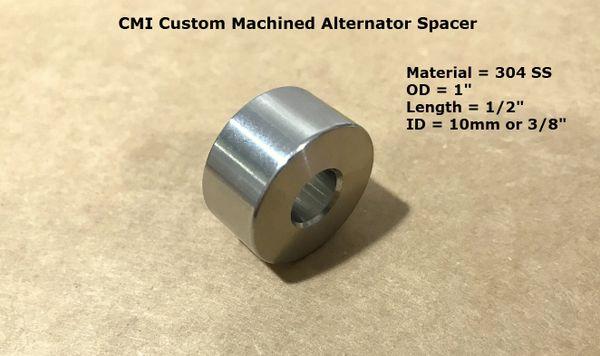 "CMI Custom Machined 304 Stainless Steel 1"" X 1/2"" Alternator Spacer"