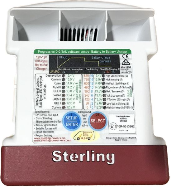 Sterling Power BB1260 12V In to 12V Out 60A Battery to Battery Charger