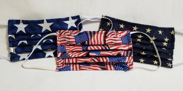American, flag, Navy, fabric, white stars, metallic, silver, stars, gold stars, face, mask, covering