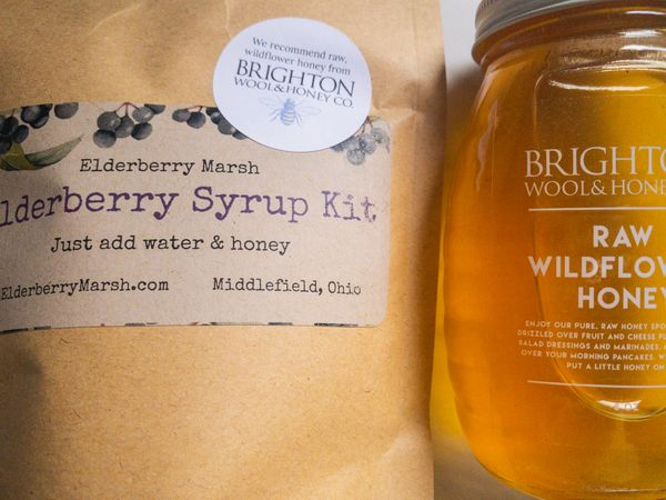 Organic Elderberry Syrup and Raw Honey Kit