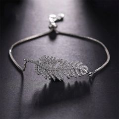 Paved Leaf Adjustable Bracelet