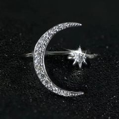 925 Sterling Silver Moon & Star Adjustable Ring