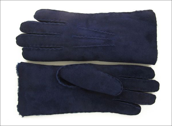 Rich Deep Blue Sheepskin Shearling Gloves