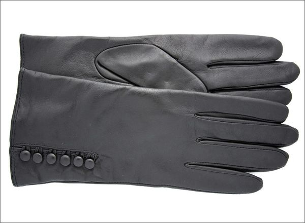 Mario Fazio Classic lambskin leather with 6 Fashion Buttons (Black w/black buttons)